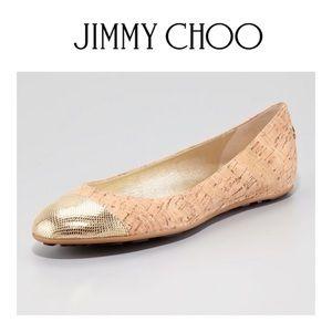 Jimmy Choo Whirl Cork Ballerina Flat, Gold